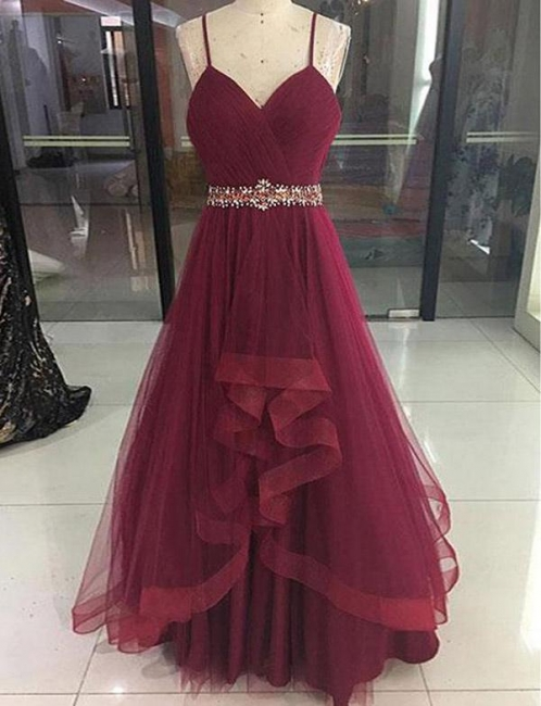 New Soft Tulle Flattering Beading Spaghetti Straps Long-Length Elegant Prom Dress Online | Suzhoudress UK