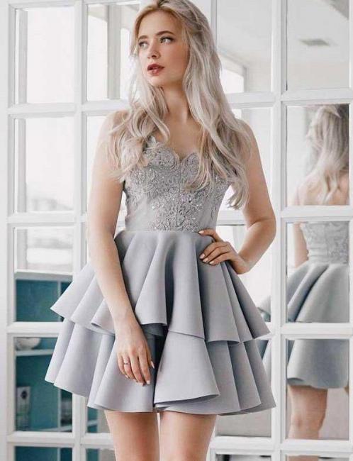 Fashion Flattering A-line Appliques Spaghetti Straps Short Homecoming Dress