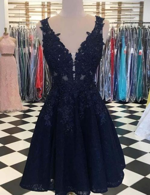 Fashion Sleeveless Flattering A-line Appliques V-Neck Short Prom Dress UK on sale