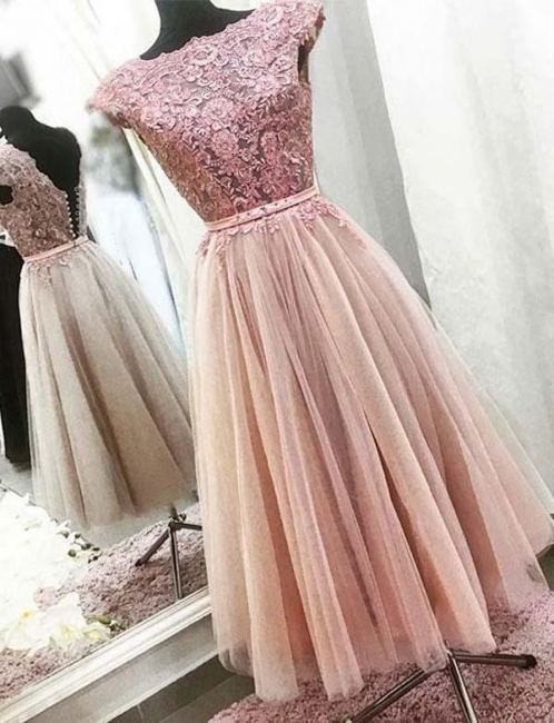 Fashion Bateau Flattering A-line Appliques Cap Sleeves Short Prom Dress UK on sale
