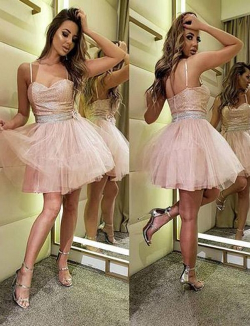 Stunning Flattering Sparkly Sequins Spaghetti Straps Soft Tulle Short Elegant Prom Dress Online   Suzhoudress UK