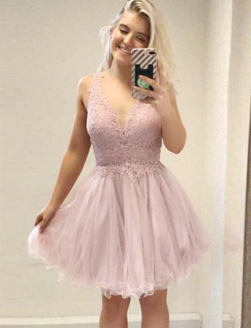 Fashion Flattering A-line Appliques Sleeveless V-Neck Short Homecoming Dress