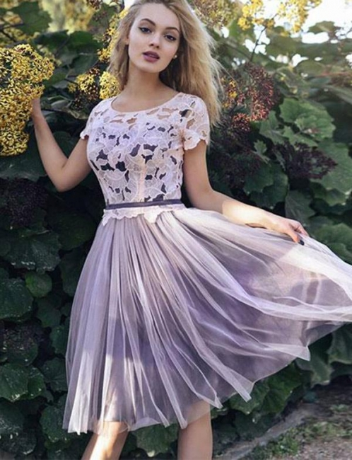 Flattering Lace Scoop Soft Tulle Short Sleeves Short Elegant Prom Dress Online | Suzhoudress UK