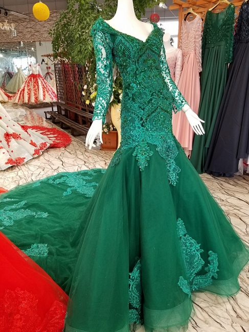 Mermaid Sparkly Beaded Chapel Train Long Sleeves Tulle Applique Prom Dress UK on sale