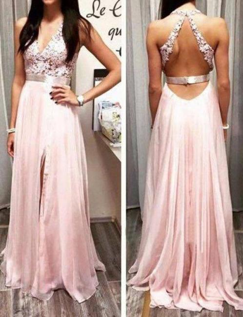 Lace Long-Length Flattering Split Front Trendy V-neck with Lace Appliques Sleeveless Elegant Prom Dress Online | Suzhoudress UK