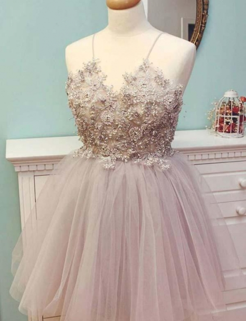 Stunning Spaghetti Straps Tulle Flattering A-line Appliques Short Prom Dress UK on sale