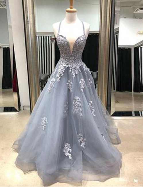 Glamorous with Lace Appliques Spaghetti Straps Flattering Sweep Train Elegant Prom Dress Online | Suzhoudress UK