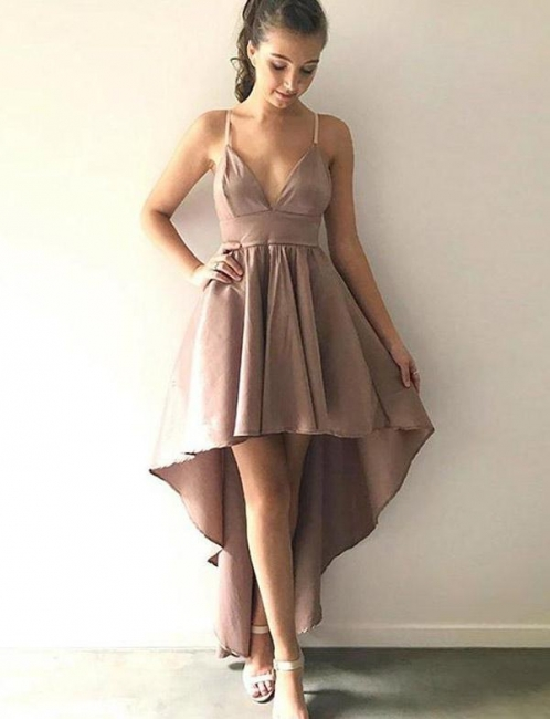 Stunning Spaghetti Straps Trendy V-neck Flattering High Low Elegant Prom Dress Online | Suzhoudress UK