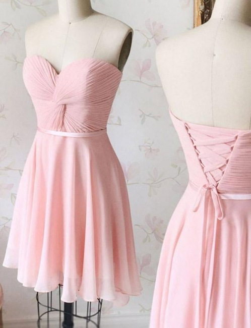 Flattering Lace Romantic strapless Lace-up Short Elegant Prom Dress Online | Suzhoudress UK