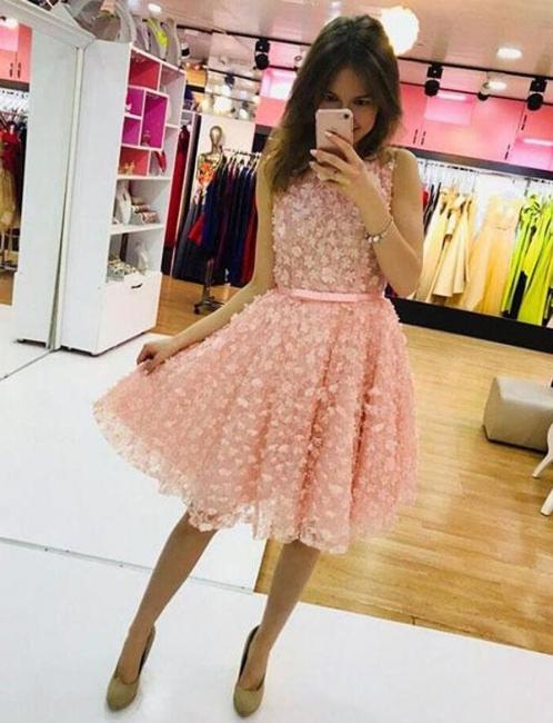 Cute Flattering A-line Appliques Jewel Sleeveless Short Homecoming Dress