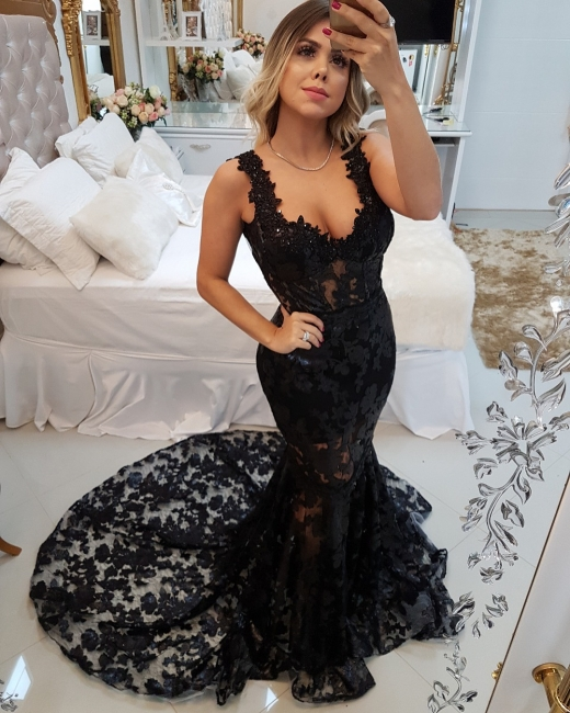 Glamour Straps Sexy Trumpet/Mermaid Appliques Sweep Train Online Prom Dress Sale | Suzhoudress UK