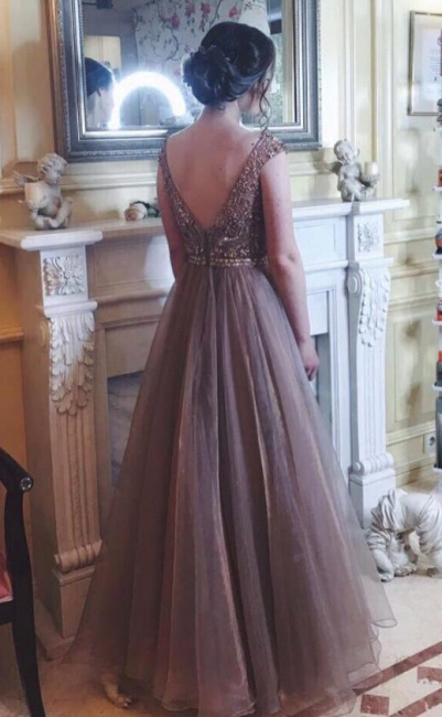 Chocolate Crystals A-Line Tulle Sweep Train Prom Dress