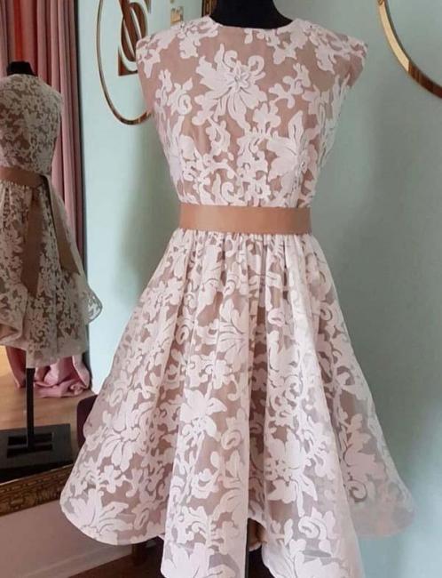 Glamorous Jewel Flattering A-line Elegant Lace Cap Sleeves Short Prom Dress UK on sale