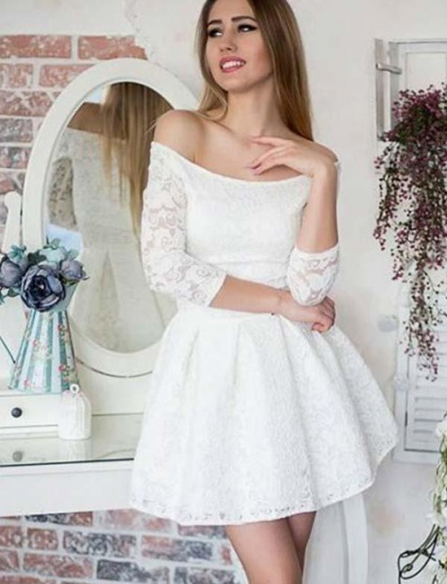 Glamour Long Sleeves A-Line Lace Off-the-Shoulder Mini Online Prom Dress Sale   Suzhoudress UK