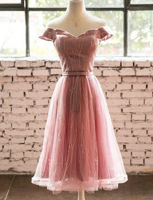 Fashion Short Sleeves Flattering A-line Off-the-Shoulder Tea-Length Homecoming Dress