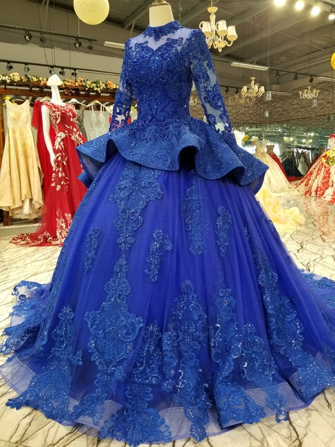 Long Sleeves Ball Gown Applique Tulle Sparkly Beaded Court Train Prom Dress UK on sale