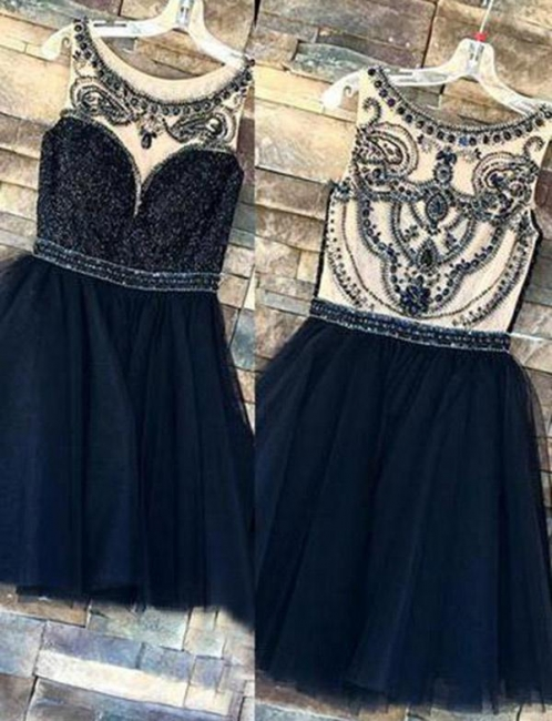 Fashion Sparkly Beaded Sleeveless Jewel Tulle Flattering A-line Short Prom Homecoming Dress