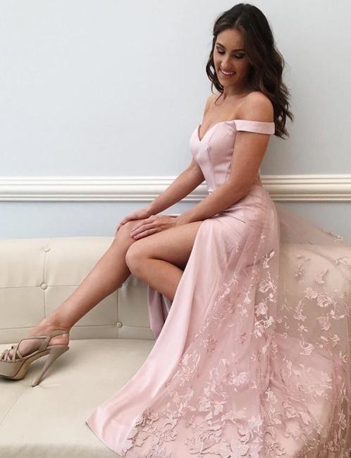Lace Off-The-Shoulder Split Front Flattering Pink Soft Tulle Elegant Prom Dress Online | Suzhoudress UK