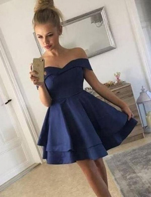 Stunning Flattering A-line Off-the-Shoulder Tiered Short Prom Homecoming Dress
