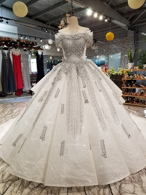 Organza Applique Ball Gown Chapel Train Short Sleeves Prom Dress UK on sale