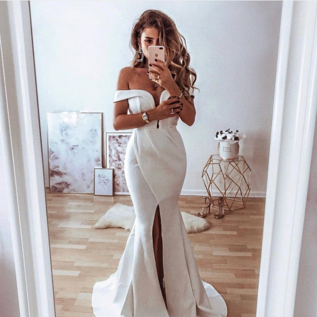 Tempting Off-the-Shoulder Mermaid Lace Wedding Dresses Sexy Front Split Appliques Bridal Gowns On Sale