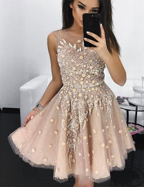 Unique Flattering A-line Appliques Jewel Tulle Sleeveless Homecoming Dress