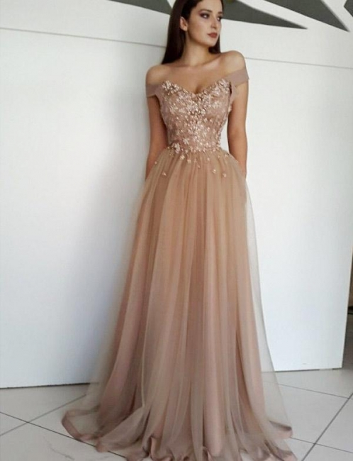 Luxury with Lace Appliques Flattering Soft Tulle Off-the-Shoulder Long-Length Evening Dress   Suzhoudress UK