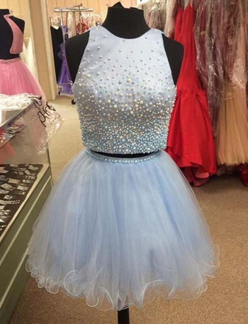 Two Piece A-Line Beading Jewel Tulle Teenage Mini Online Prom Dress Sale | Suzhoudress UK