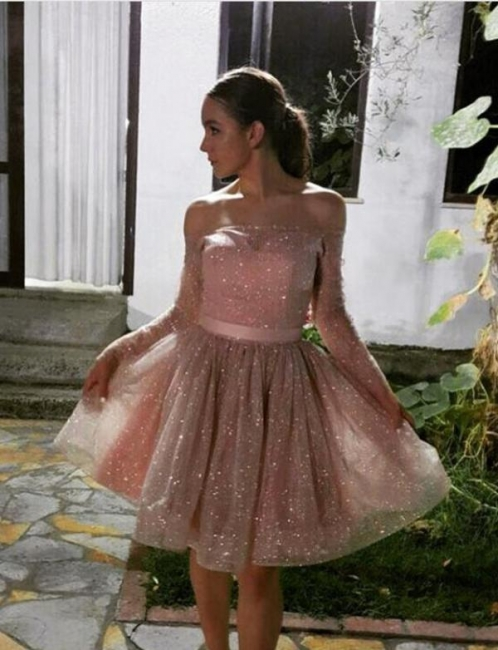 Unique Long Sleeves Flattering A-line Strapless Off-the-Shoulder Short Prom Homecoming Dress