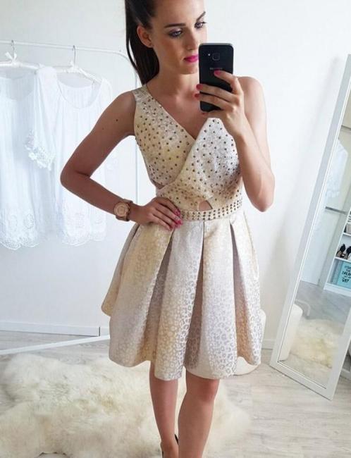 Fashion Sleeveless Flattering A-line Sparkly Beaded V-Neck Short Prom Dress UK on sale