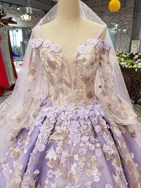 Ball Gown Spaghetti Straps Long Sleeves Court Train Applique Prom Dress UK on sale