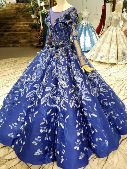 Sweep Train Long Sleeves Applique Ball Gown Floor-Length Prom Dress UK on sale