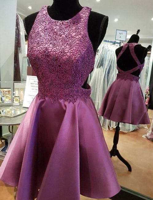 Modern Flattering A-line Appliques Jewel Elegant Lace Sleeveless Short Homecoming Dress