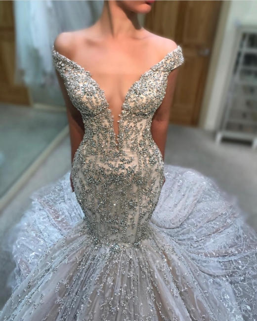 Alluring Off-the-Shoulder Tulle Beaded Mermaid Wedding Dresses Sexy Deep V-Neck Sleeveless Bridal Gowns Online