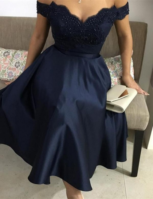 Fashion Sparkly Beaded Flattering A-line Appliques Off-the-Shoulder Tea-Length Homecoming Dress