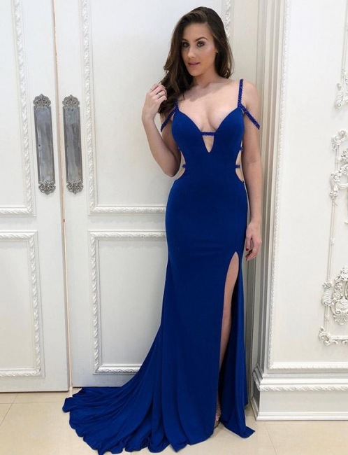 Elegant Blue Mermaid Prom Dress Long Evening Gowns With SLit