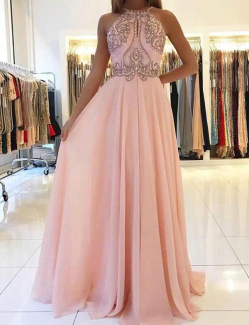 New Flattering Spaghetti Straps Beading Pink Long-Length Elegant Prom Dress Online | Suzhoudress UK