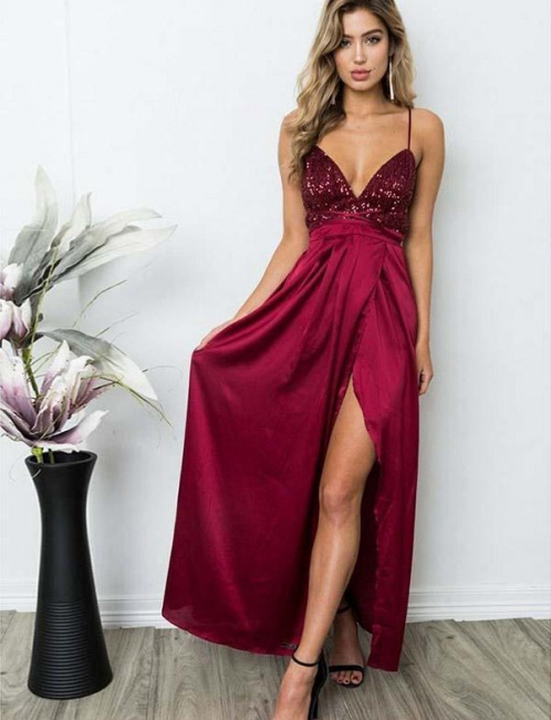 Gorgeous Spaghett-Straps Burgundy Prom Dress Long Sequins Evening Gowns