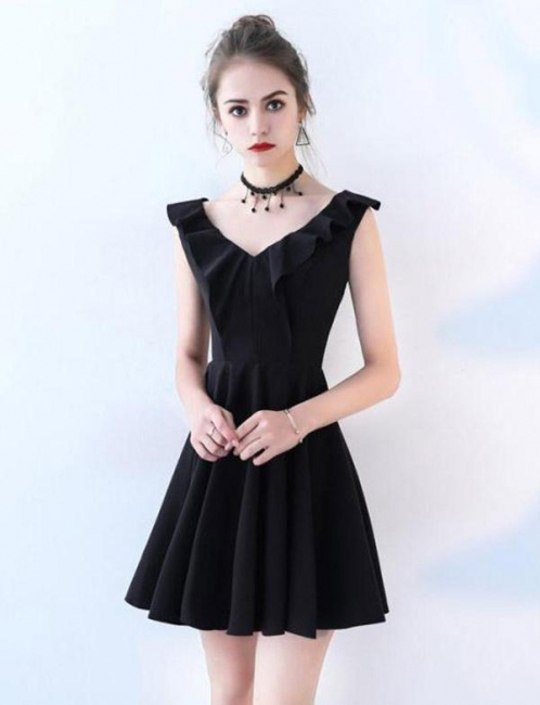 Simple Sleeveless Flattering A-line Straps V-Neck Short Prom Homecoming Dress
