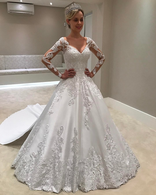 Chic Long Sleeves Satin V-Neck Applique Wedding Dresses   Bridal Gowns Online