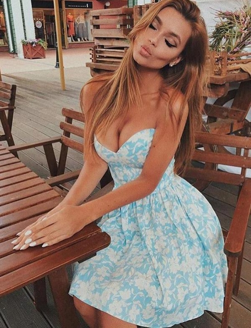 Fashion Chic Sexy Flattering A-line Floral Print Different Sweetheart Short Prom Homecoming Dress