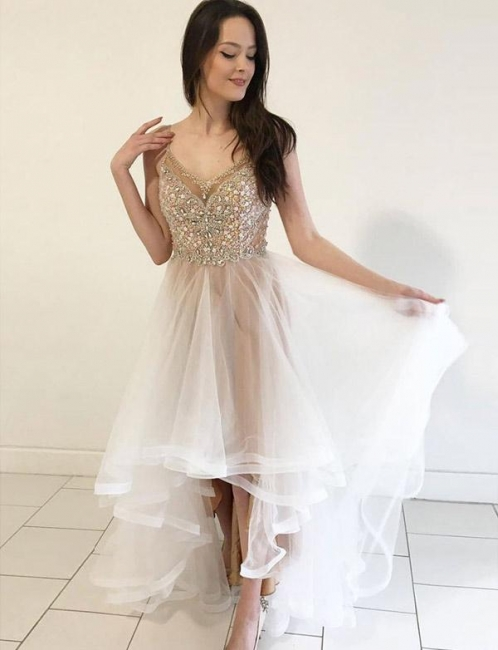 Glamorous Spaghetti Straps Flattering A-line Sparkly Beaded Tulle Homecoming Dress