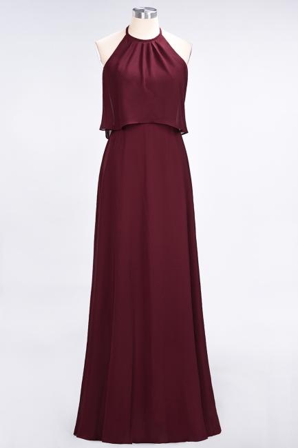 A-line Chiffon Jewel Summer Floor-Length Bridesmaid Dress UK