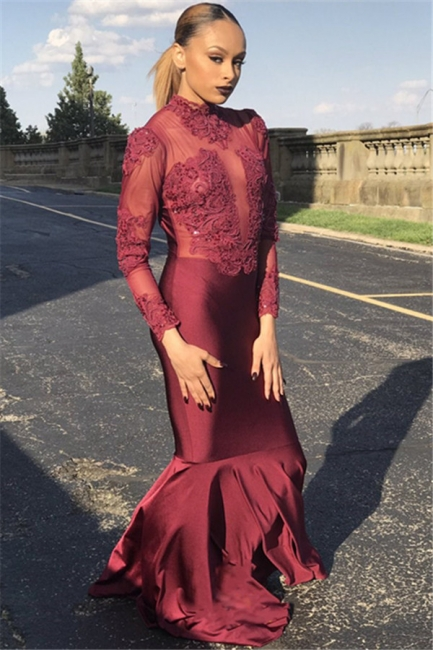 Unique Style Long Sleeves High Neck Sexy Trumpet/Mermaid Online Prom Dress Sale   Suzhoudress UK