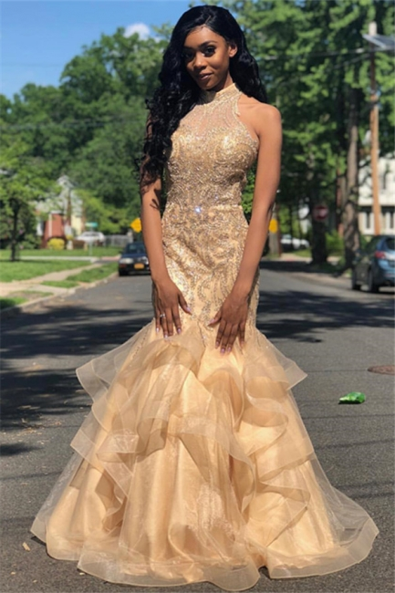 Mermaid Fit and Flare Appliques High-Neck Summer Long Prom Dress UK