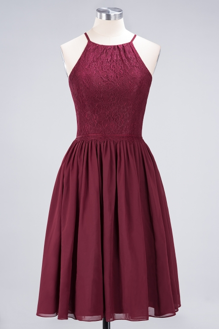 A-line Chiffon Lace Jewel Teenage Knee-Length Bridesmaid Dresses with Ruffles | Suzhoudress UK