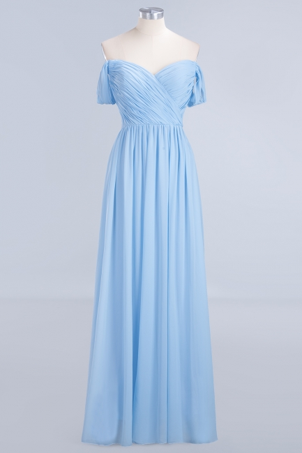 A-line Chiffon Straps Sweetheart Summer Floor-Length Bridesmaid Dress UK with Ruffles
