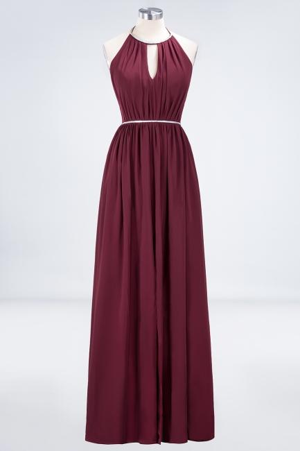 A-line Chiffon Halter Summer Floor-Length Bridesmaid Dress UK with Beading Sash