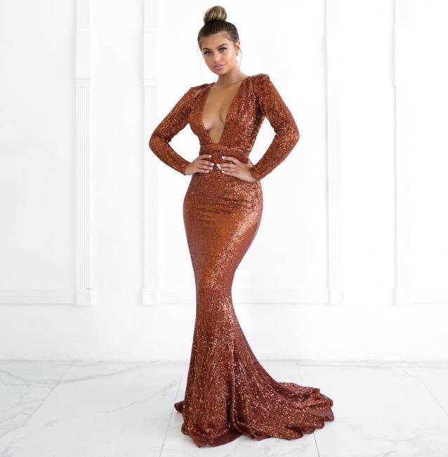 Womens Plunge V-Neck Long Sleeves Sexy Trumpet/Mermaid Online Prom Dress Sale | Suzhoudress UK