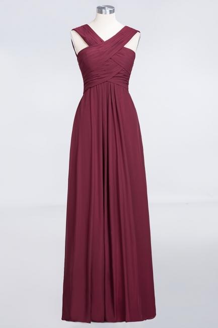 A-line Chiffon V-Neck Straps Summer Floor-Length Bridesmaid Dress UK with Ruffles